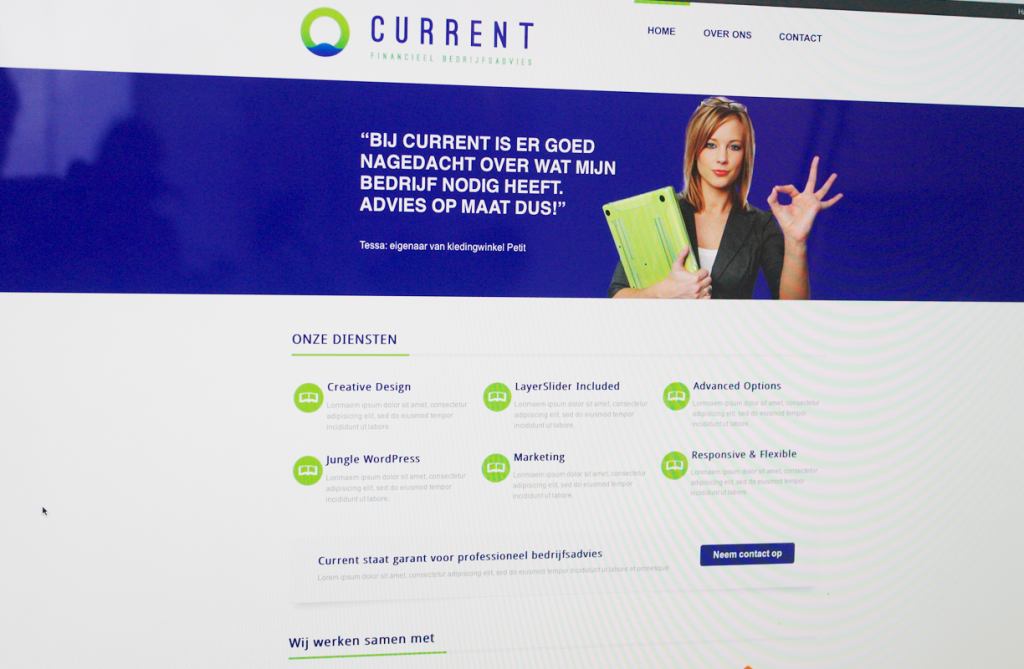WordPress website Current financieel bedrijfsadvies homepage