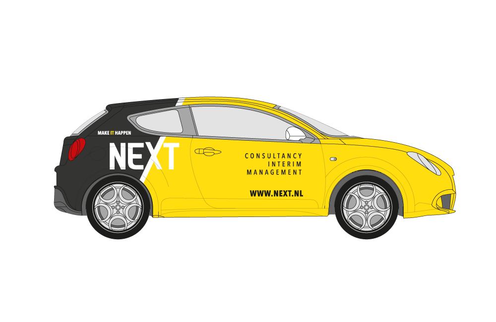 Ontwerp autobelettering logo Next