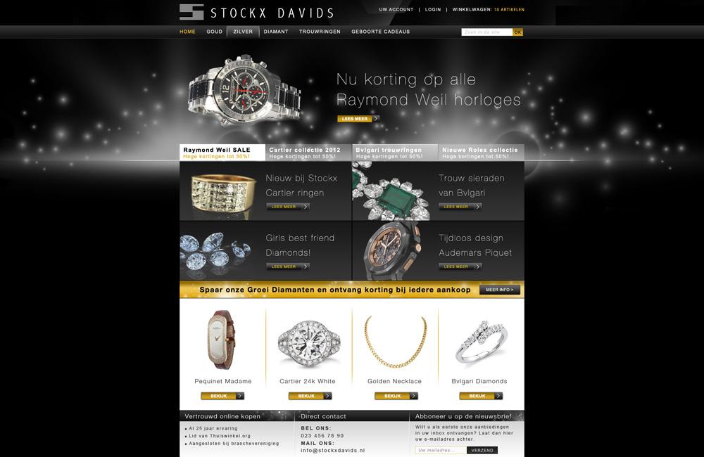 Magento webshop ontwerp juwelier Stockx Davids homepage
