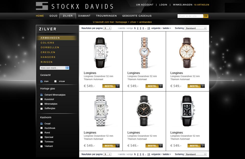 Magento webshop ontwerp juwelier Stockx Davids lijstweergave